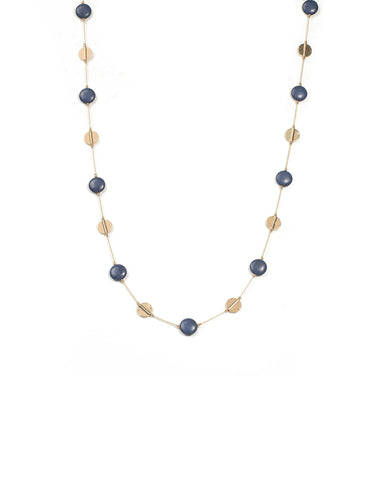 Blue and Gold Bead Disc Necklace