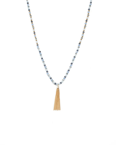 Blue Beaded Rope Tassel Chain Necklace