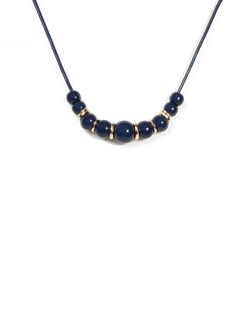 Ball Navy Beaded Gradual Short Necklace