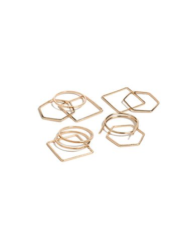 Geo Gold Shape Multi Pack Rings - Medium