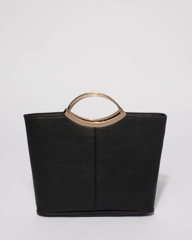 Black Smooth Jessie Clutch Bag With Gold Hardware