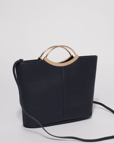 Navy Smooth Jessie Clutch Bag with Gold Hardware