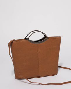 Tan Smooth Jessie Clutch Bag With Gunmetal Hardware