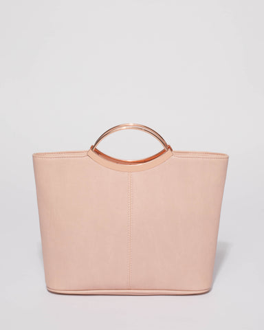 Pink Smooth Jessie Clutch Bag With Rose Gold Hardware