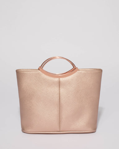 Rose Gold Saffiano Jessie Clutch Bag with Rose Gold Hardware