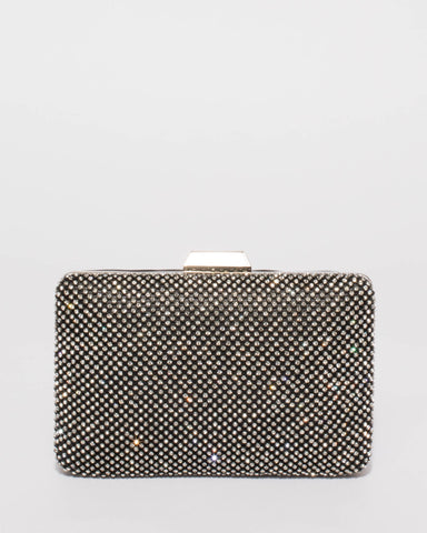 Black Maxine Diamante Hardcase Clutch Bag