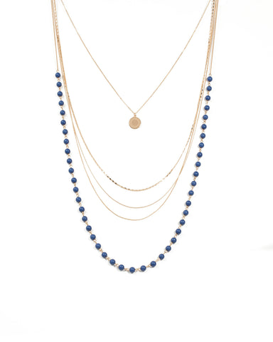 Beaded Multi Row Coin Necklace