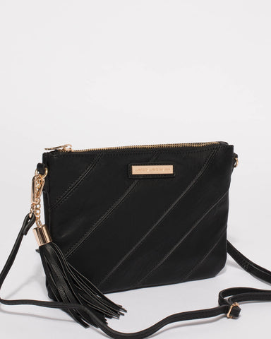Black Diagonal Peta Crossbody Bag