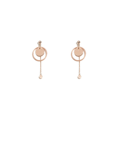 Round Fine Rose Gold Chain Drop Earrings