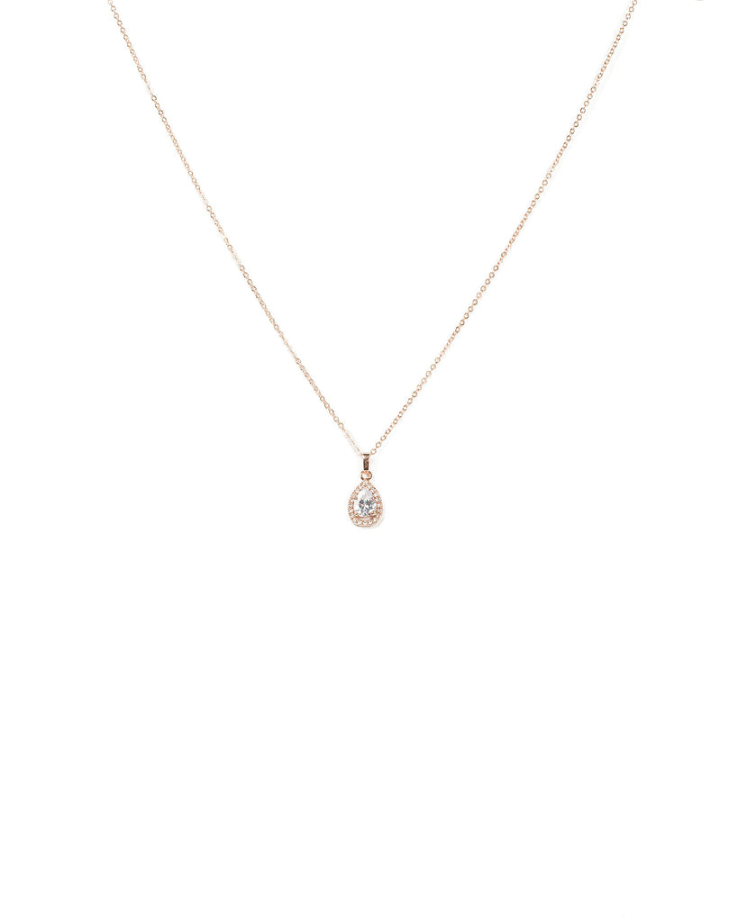 Rose Gold Pear Pendant Necklace