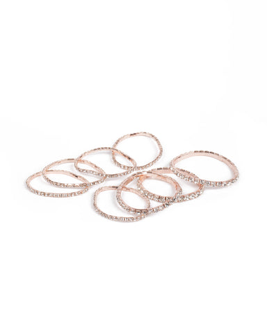 Rose Gold Tone Multi Row Stretch Diamante Wristwear