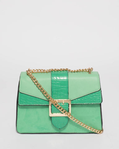 Green Rachel Buckle Crossbody Bag
