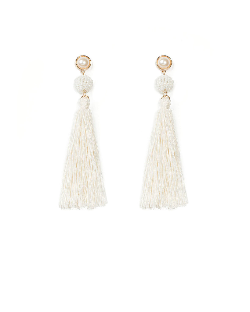 Beaded Drop Tassel Statement Earrings