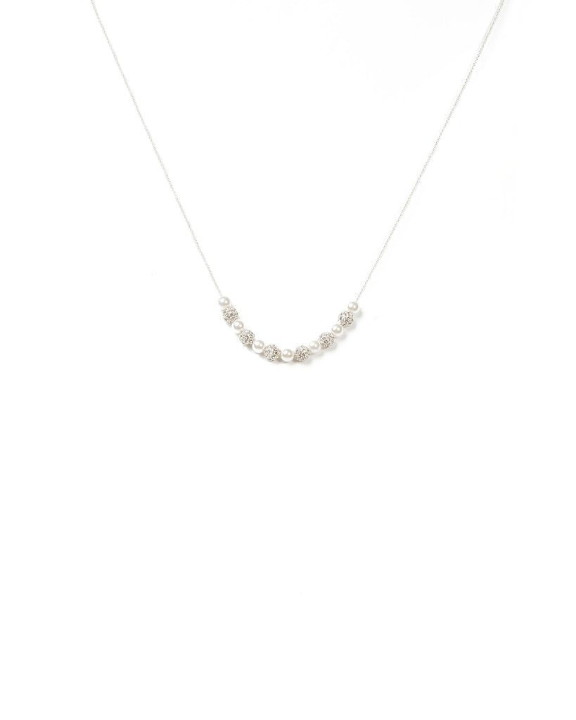 Diamante Ivory Bead And Pearl Necklace