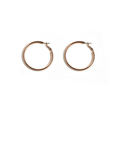 Rose Gold Thick Metal Hoop Earrings