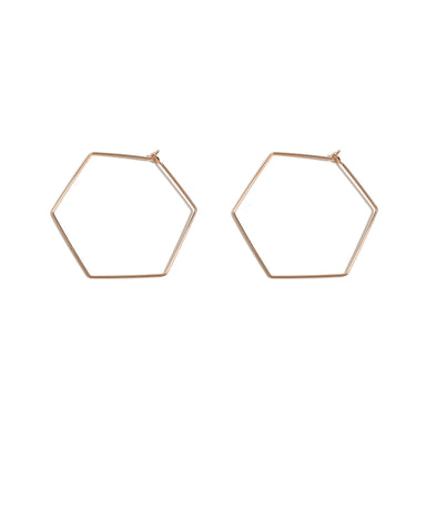 Rose Gold Thin Hexagon Hoop Earrings