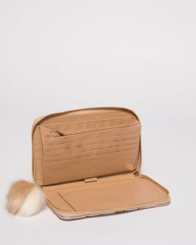 Natural Textured Addie Travel Wallet With Gold Hardware