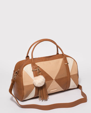 Tan Smooth Indie Weekender Bag With Gold Hardware