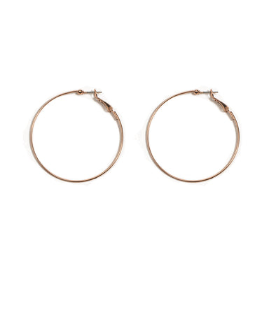 Rose Gold Fine Metal 50mm Hoop Earrings