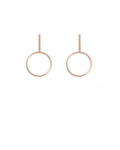 Rose Gold Fine Circle On Bar Earrings