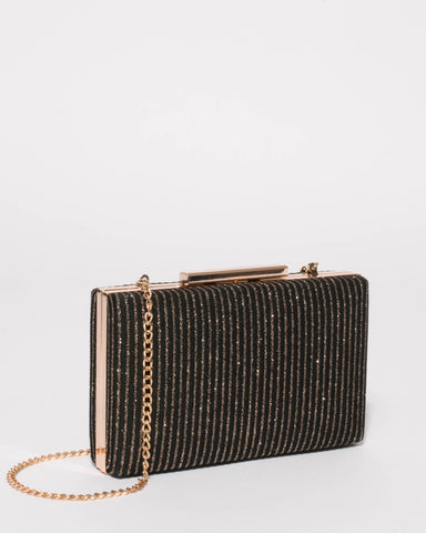 Black Gold Glitter Jaimi Clutch Bag