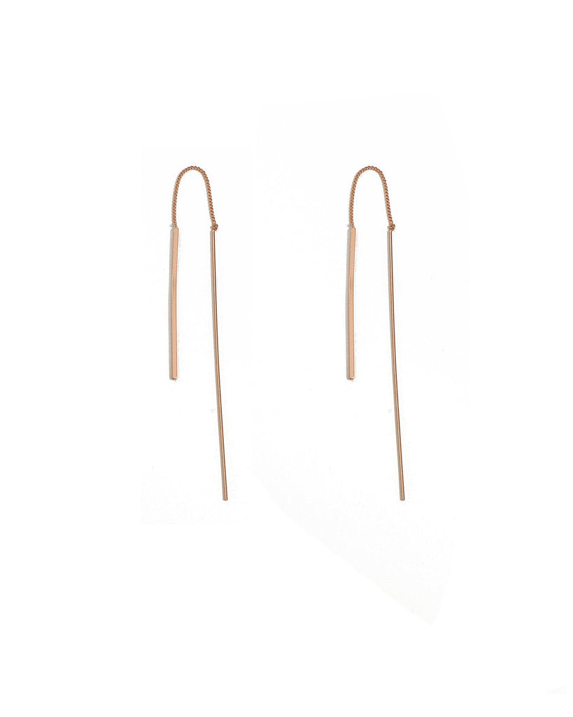 Rose Gold Fine Curved Bar Thread Earrings