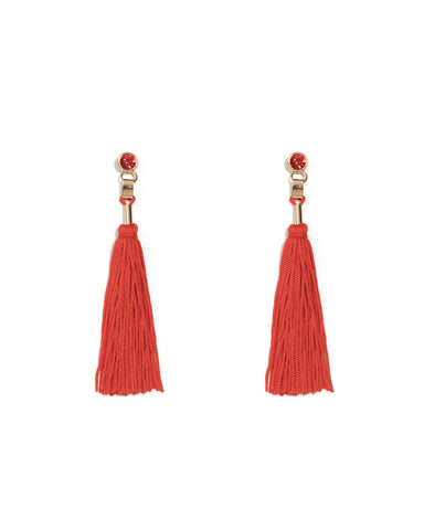 Red Gold Tone Stone Drop Tassel Statement Earrings