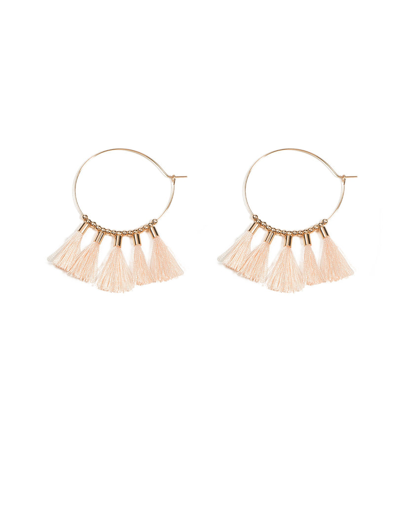 45mm Pink Tassel Hoop Earrings