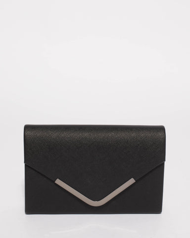 Black Lilia Envelope Clutch Bag