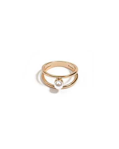 Pearl Double Band Ring - Medium
