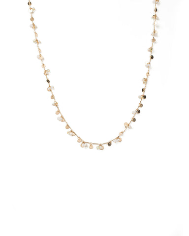 Ivory Bead And Metal Disk Necklace
