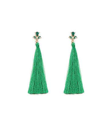 Top Stone Green Tassel Statement Earrings