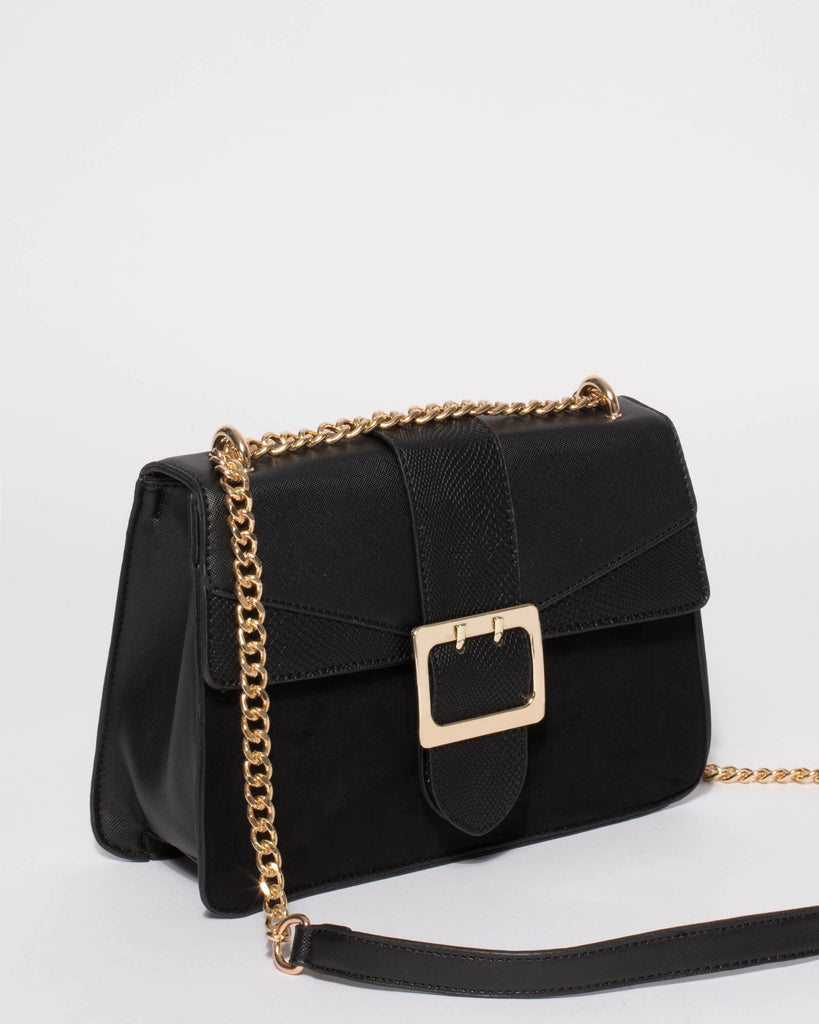 Black Textured Rachel Buckle Crossbody Bag
