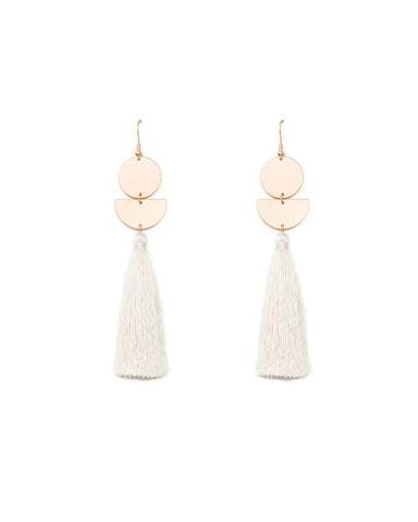 Geometic Disc Ivory Tassel Statement Earrings
