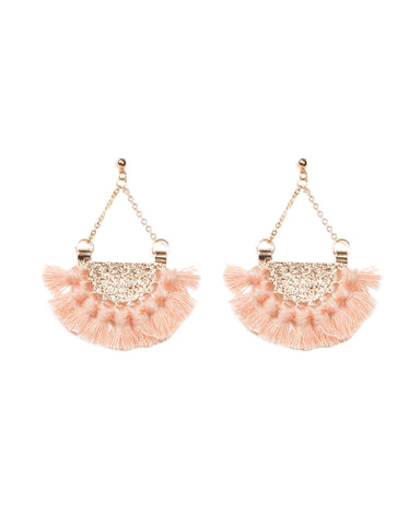 Semi Circle Peach Tassel Statement Earrings