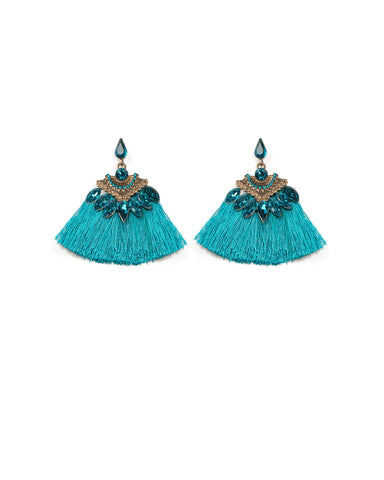 Navette Stone Blue Tassel Statement Earrings