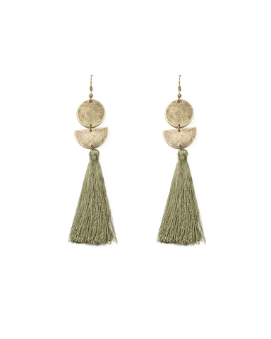 Green Antique Gold Tone Geometric Disc Tassel Earrings