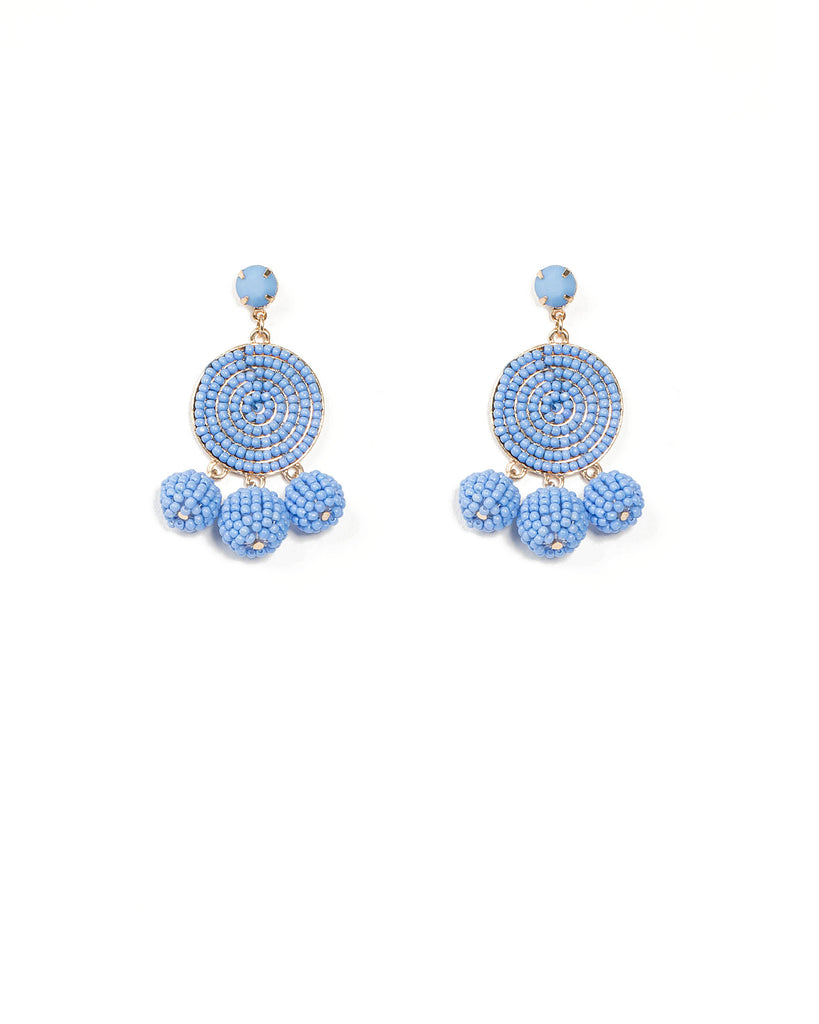 Blue Beaded Circle Ball Drop Earrings