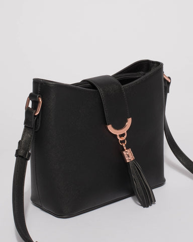 Black Libby Crossbody Bag With Rose Gold Hardware