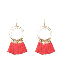 Gold Double Beaded Ring Red Tassel Statement Earrings