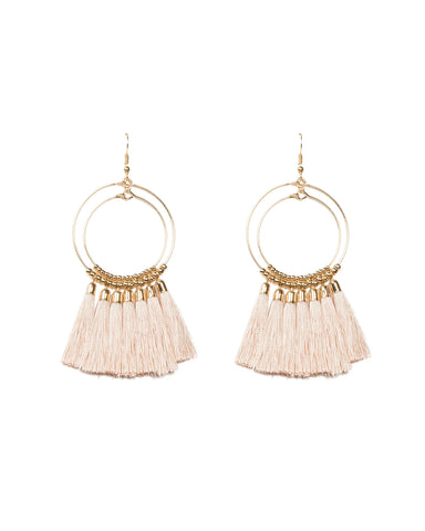 Gold Double Beaded Ring Pink Tassel Statement Earrings