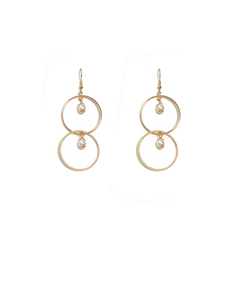 Double Drop Ring Ivory Pearl Earrings