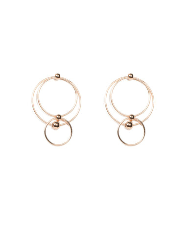 Rose Gold Multi Ring Drop Earrings