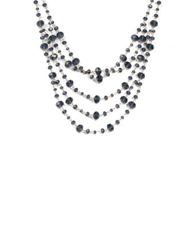 Blue Beaded Multi Row Necklace