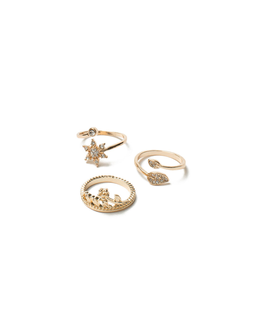 Diamante Flower Ring Pack - Small