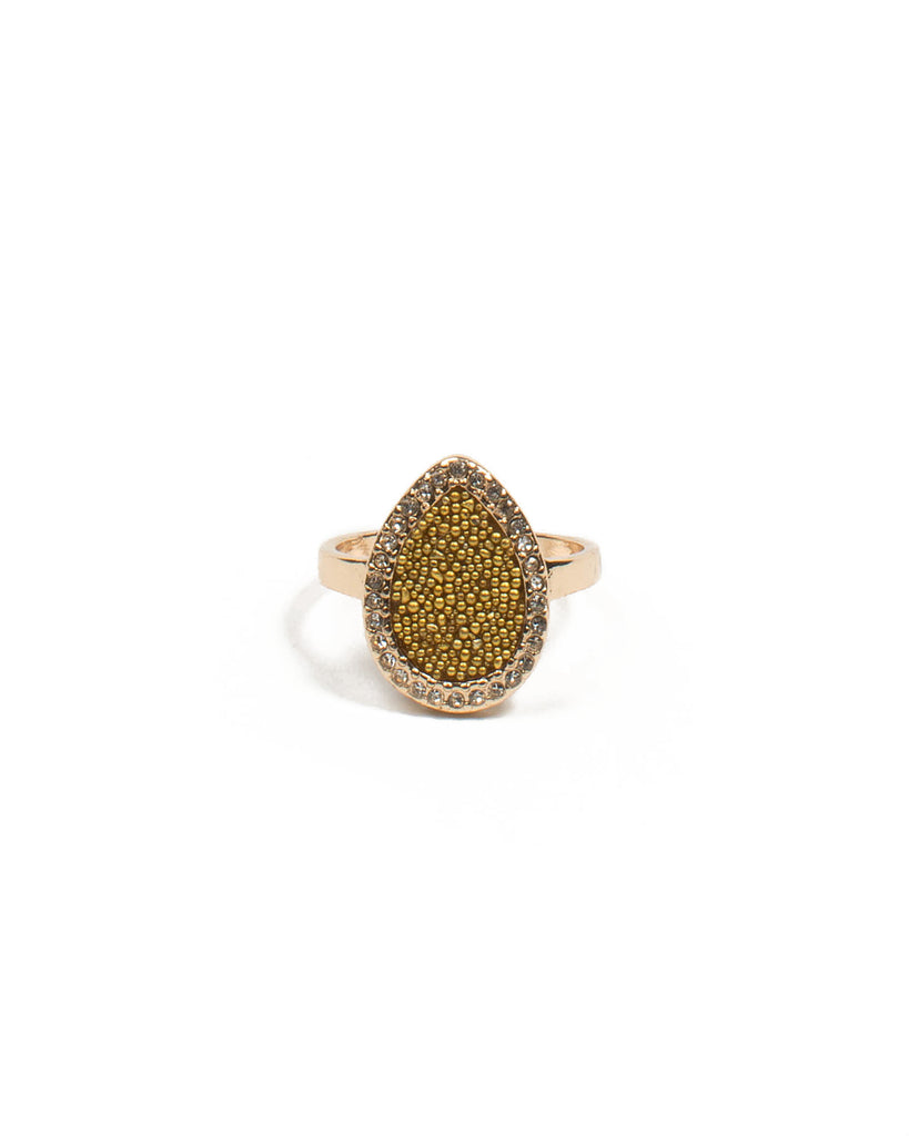 Gold Beaded Teardrop Ring - Medium