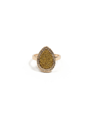 Gold Beaded Teardrop Ring - Large