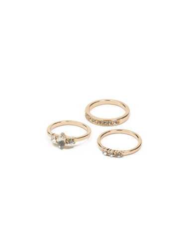 Gold Tone Multi Stone Ring Pack - Medium