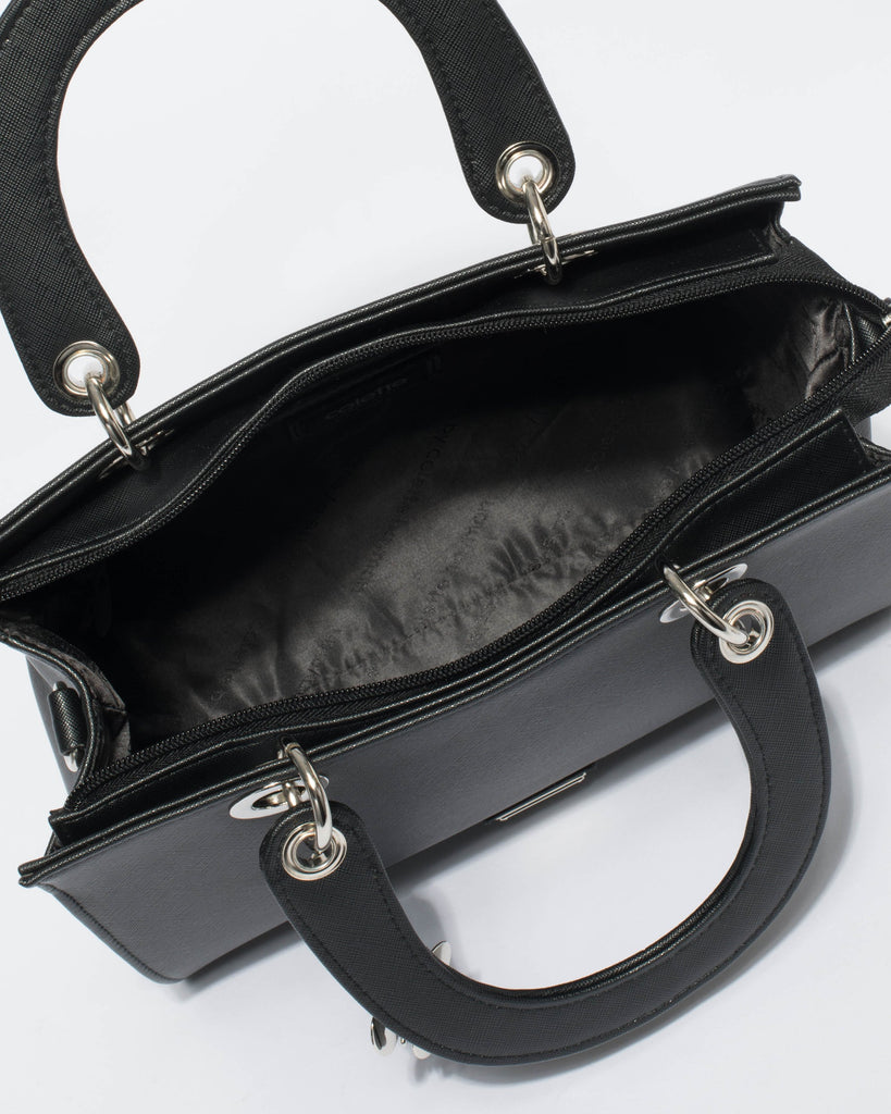Ella Black Saffiano Silver Hardware Medium Tote Bag