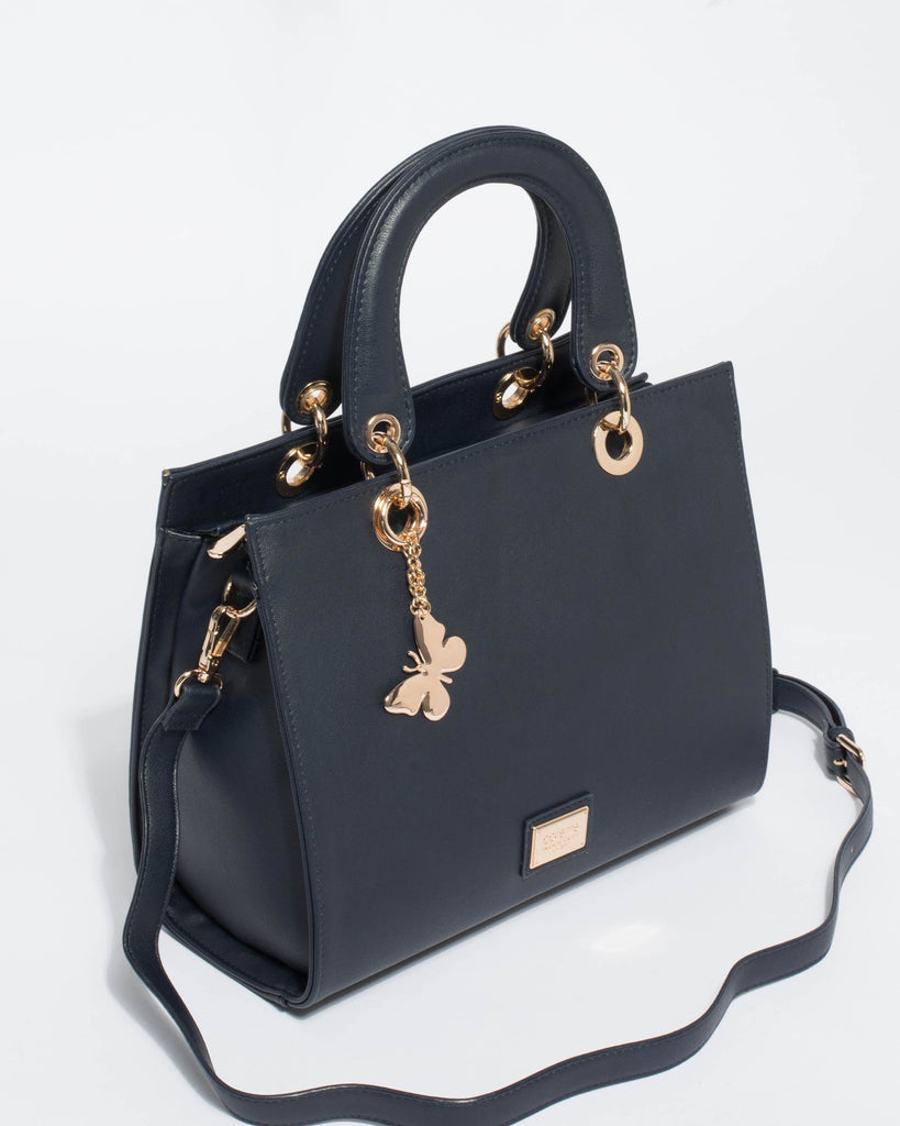 Ella Smooth Navy Medium Tote